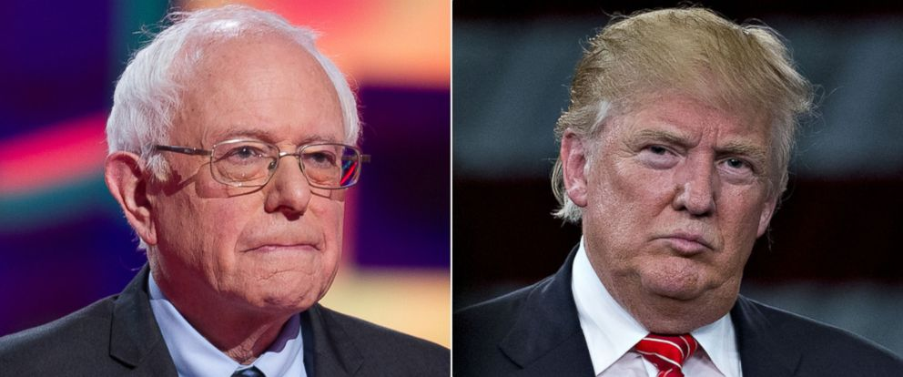 PHOTO: Democratic presidential candidate Bernie Sanders awaits the start of the Democratic Debate in Flint, Michigan, March 6, 2016 | Republican presidential candidate Donald Trump at the Tampa Convention Center March 14, 2016, in Tampa.