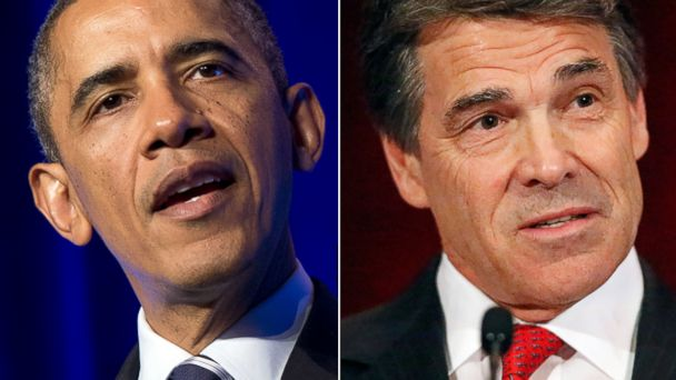 GTY barack obama rick perry split sr 131107 16x9 608 Obama vs. Perry: A Texas Sized Clash