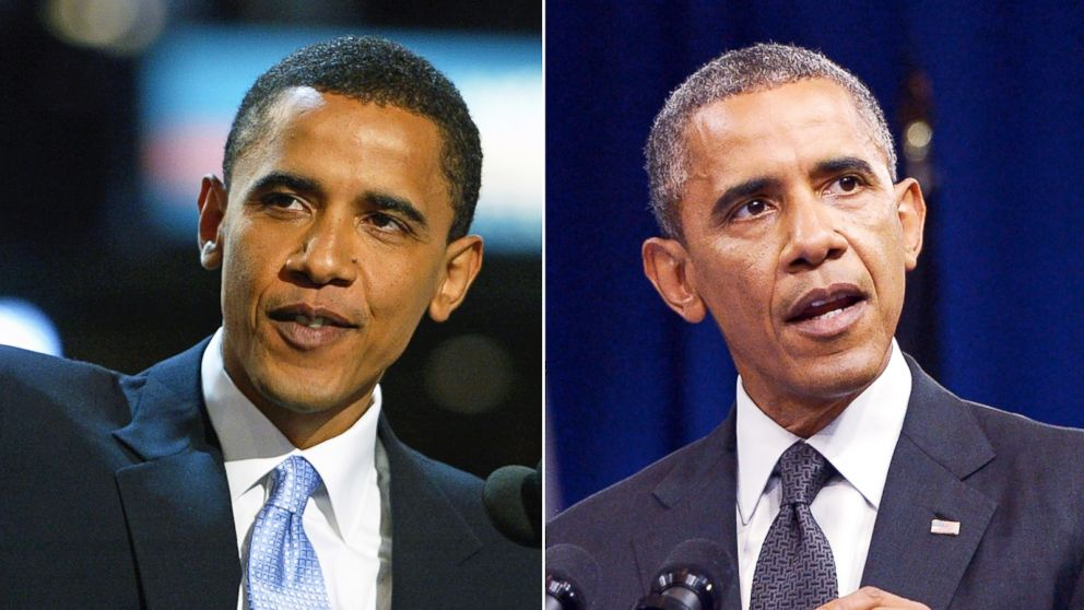 PHOTO: Then-U.S. Senate candidate Barack Obamas hair was significantly darker when he gave the keynote speech at the Democratic National Convention in