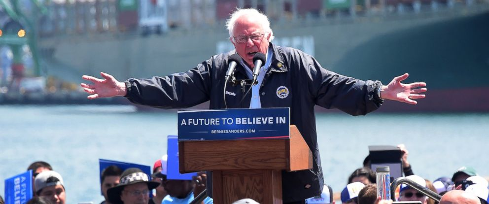 PHOTO: Democratic Party candidate Bernie Sanders speaks in the San Pedro port district of Los Angeles, May 27, 2016.