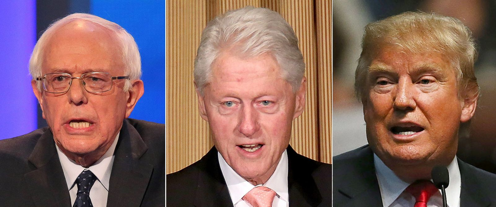 PHOTO: Bernie Sanders | Bill Clinton | Donald Trump