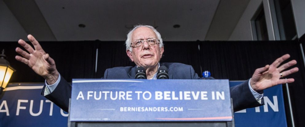PHOTO: Sen. Bernie Sanders speaks at a campaign rally at Music Man Square on Jan. 27, 2016 in Mason City, Iowa.