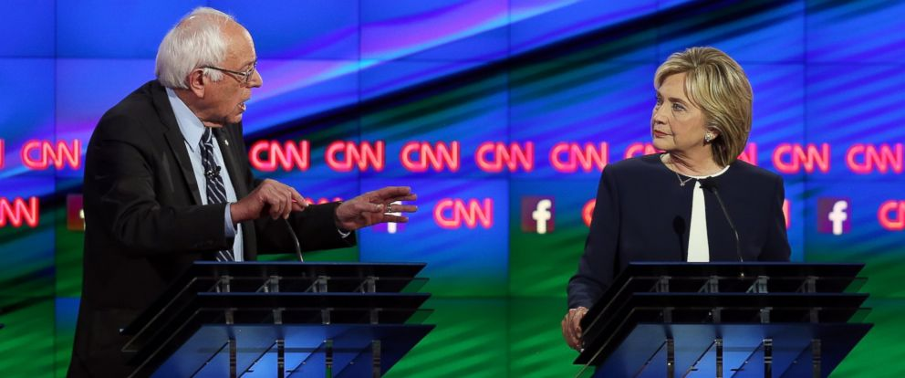 PHOTO: Left to right, Democratic presidential candidates Sen. Bernie Sanders, I-VT, and Hillary Clinton take part in a presidential debate sponsored by CNN and Facebook at Wynn Las Vegas, Oct. 13, 2015 in Las Vegas.
