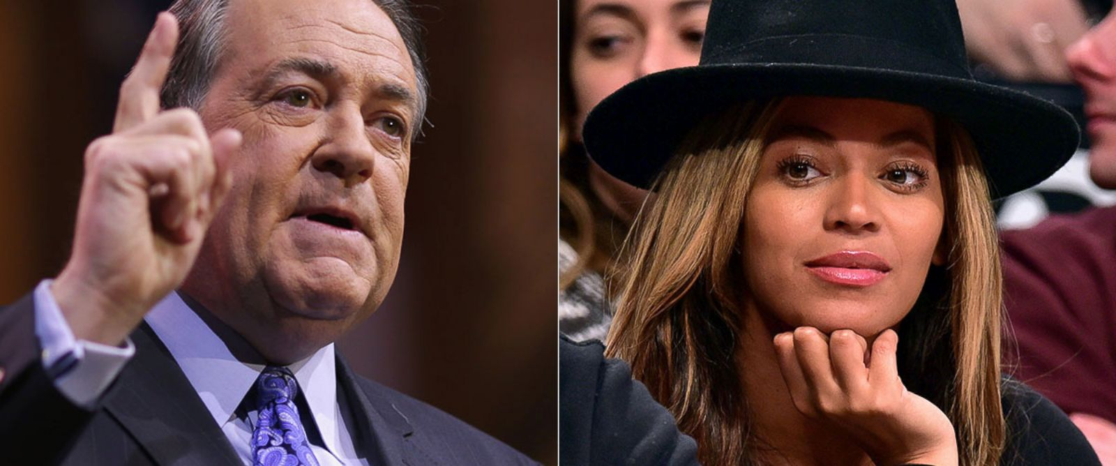 PHOTO: Former Arkansas Governor Mike Huckabee speaks at the Conservative Political Action Conference, March 7, 2014, in National Harbor, Md; Beyonce Knowles attends the Houston Rockets vs Brooklyn Nets game at Barclays Center, Jan. 12, 2015, in New York.