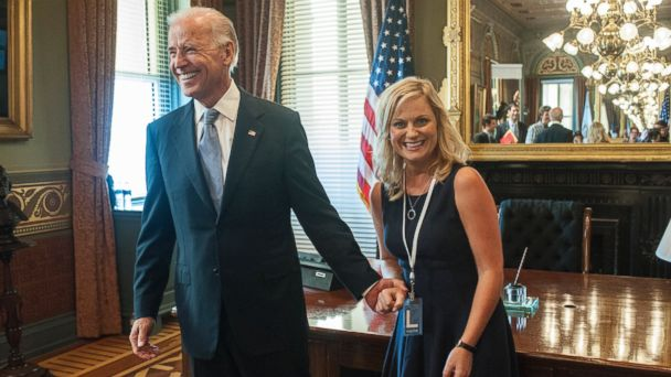 "PHOTO: Vice President Joe Biden appears with Amy Poehler as Leslie Knope on ""Parks And Recreation."""