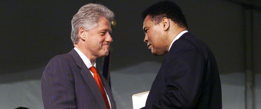 PHOTO: President Bill Clinton shakes hands with Muhammad Ali after presenting the former heavyweight champ with the Presidential Citizens Medals at the White House South Lawn Pavillion in Washington.