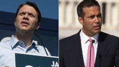 PHOTO: Jason Carter, left, is pictured on Oct. 27, 2014 in Columbus, Ga. George P. Bush is pictured on Sept. 2, 2014 in Washington, D.C.