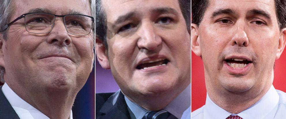 PHOTO: Jeb Bush, Ted Cruz and Scott Walker
