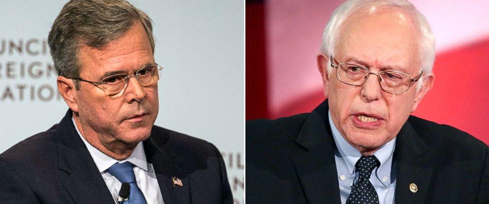 PHOTO: Jeb Bush, left, and Bernie Sanders.