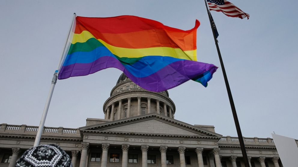 PHOTO: Supporters hold a pro-gay marriage rally outside the Utah State Capitol on Jan. 28, 2014 in Salt Lake City, Utah.