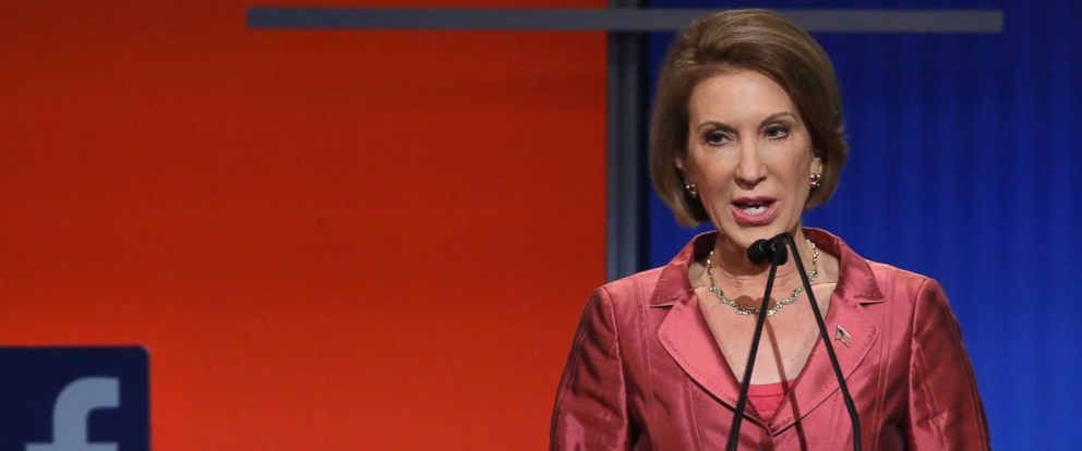 PHOTO: Republican presidential candidate Carly Fiorina participates in a presidential pre-debate forum at the Quicken Loans Arena in Cleveland, Ohio, Aug. 6, 2015.