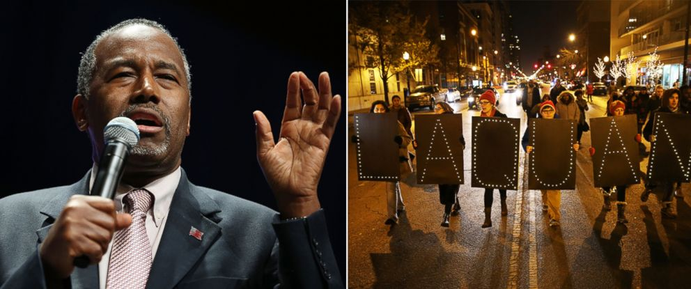 "PHOTO: Ben Carson speaks during the Sunshine Summit conference being held at the Rosen Shingle Creek on Nov. 13, 2015 in Orlando, Florida. | Protesters form a line and walk holding signs that spell out ""Laquan"" on Nov. 24, 2015, in Chicago."