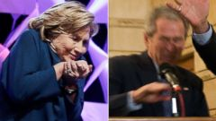 PHOTO: Hillary Clinton, left, is pictured on April 10, 2014 in Las Vegas. George W. Bush, right, is pictured on Dec. 14, 2008 in Baghdad, Iraq.