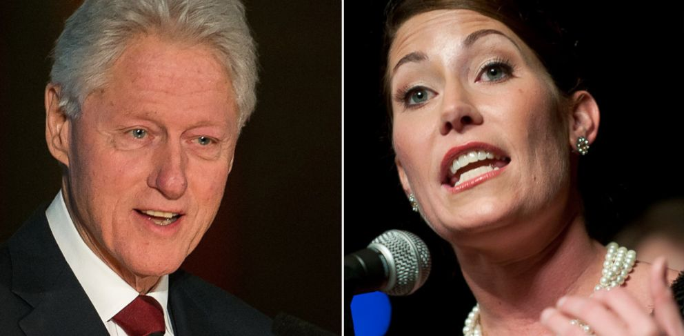 PHOTO: From left, Bill Clinton in New York, Feb. 13, 2014 and Alison Lundergan-Grimes in Frankfort, Ky., Nov. 8, 2011.