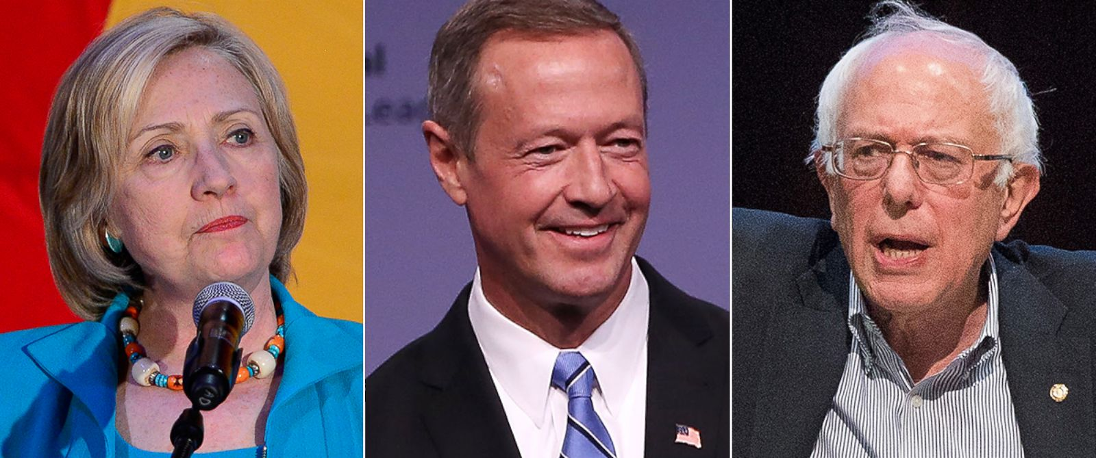 PHOTO: From left, Hillary Clinton, Martin OMalley and Bernie Sanders are pictured.