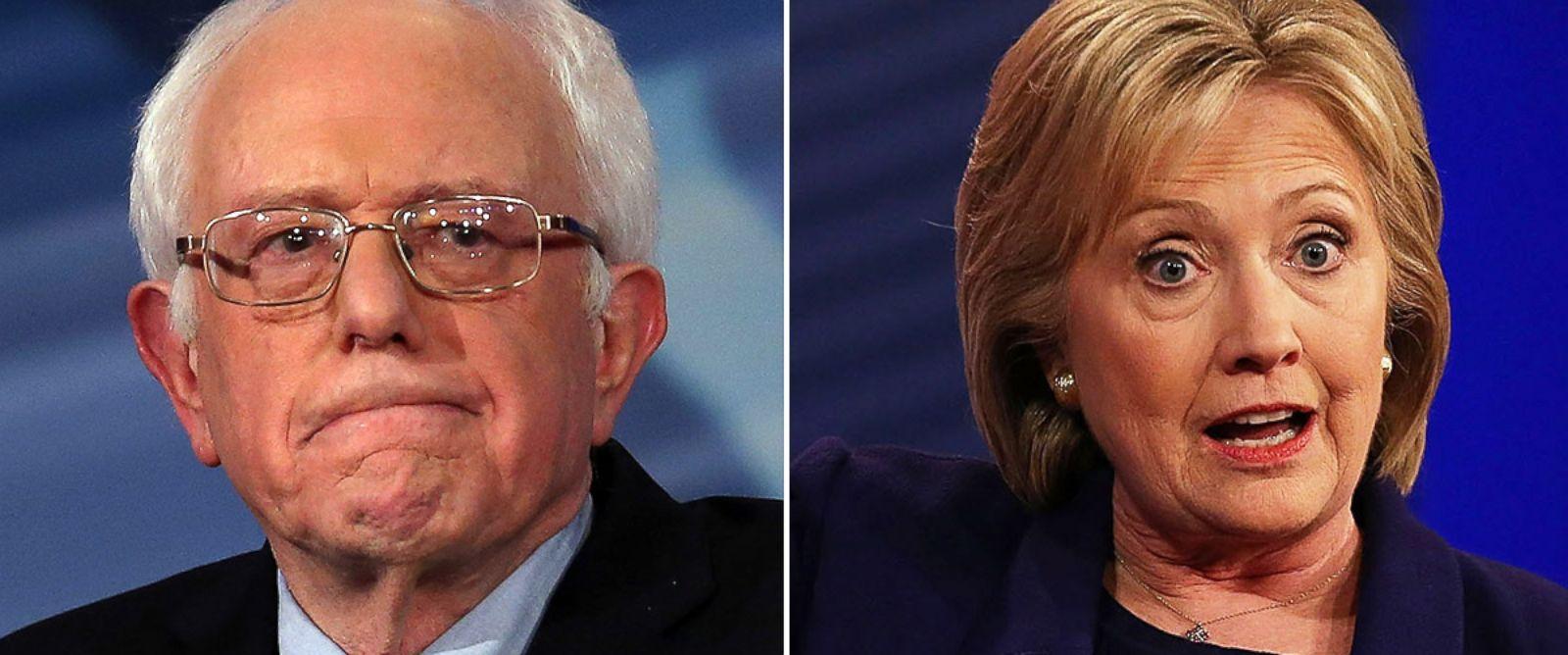 PHOTO: Sen. Bernie Sanders and Hillary Clinton in Derry, N.H., Feb. 3, 2016.
