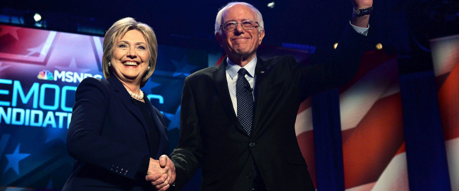 PHOTO: Hillary Clinton and Bernie Sanders shake hands before participating in the MSNBC Democratic Candidates Debate, Feb. 4, 2016.