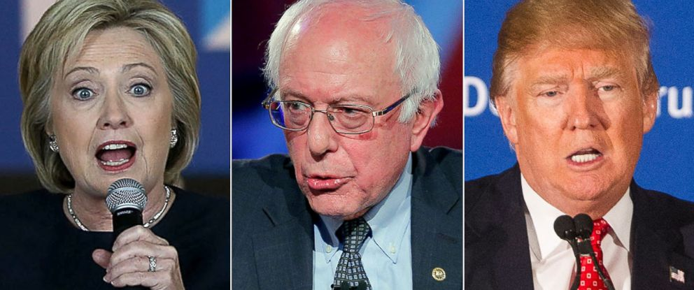 PHOTO: Hillary Clinton, Bernie Sanders, and Donald Trump, right.