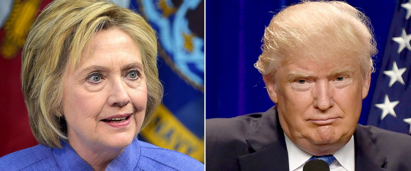 PHOTO: Democratic presidential candidate Hillary Clinton on June 15, 2016 and Republican presidential candidate Donald Trump on June 13, 2016.