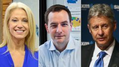 PHOTO: KellyAnne Conway of the Trump Campaign, Rooby Mook, Campaign Manager fro Democratic presidential candidate Hillary Clinton, and Presidential Candidate Governor Gary Johnson.