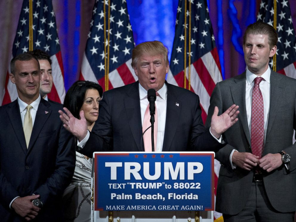 PHOTO: Donald Trump, center, speaks during a news conference with his son Eric Trump, right, and Corey Lewandowski, campaign manager for Trump, left, at the Mar-A-Lago Club in Palm Beach, Florida, March 15, 2016.
