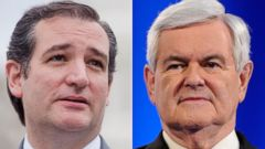 PHOTO: Left, Ted Cruz speaks at a news conference, June 18, 2013. Right, Newt Gingrich appears on stage during a debate, Feb. 22, 2012, in Mesa, Arizona.