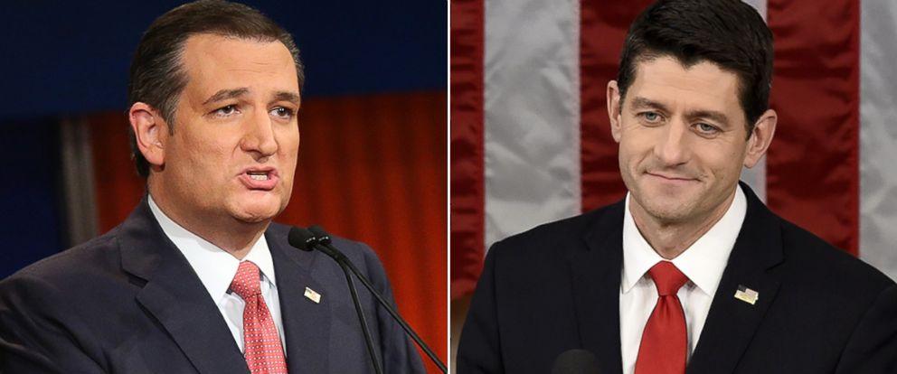 PHOTO: Ted Cruz, left, and Paul Ryan.