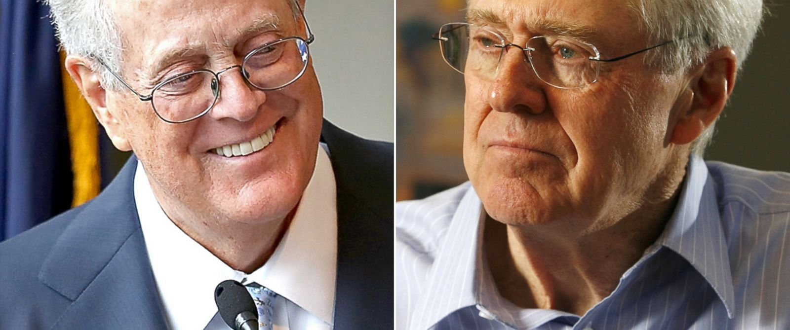 PHOTO: David H. Koch seen Sept. 9, 2009 in New York City. | Charles Koch seen Feb. 26, 2007.