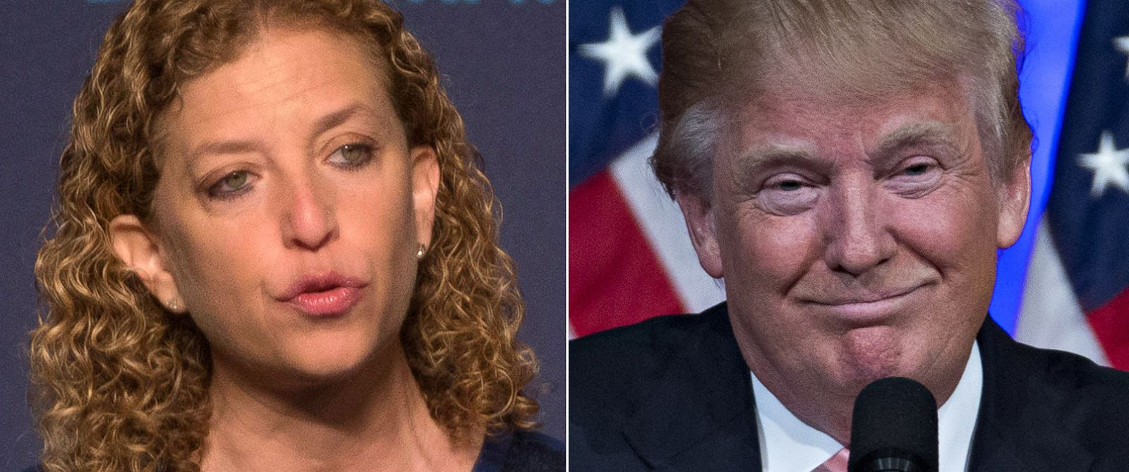 PHOTO: Pictured (L-R) are Debbie Wasserman Schultz in Washington, Oct. 23, 2015 and Donald Trump in Palm Beach, Fla., March 15, 2016.