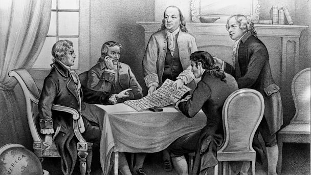 Thomas Jefferson, Roger Sherman, Benjamin Franklin, Robert R Livingston and John Adams, declaration of independence