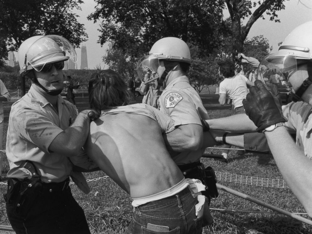 PHOTO: Police officers arrest a protester at a riot in Grant Park during the Democratic National Convention in Chicago, Aug. 28, 1968.