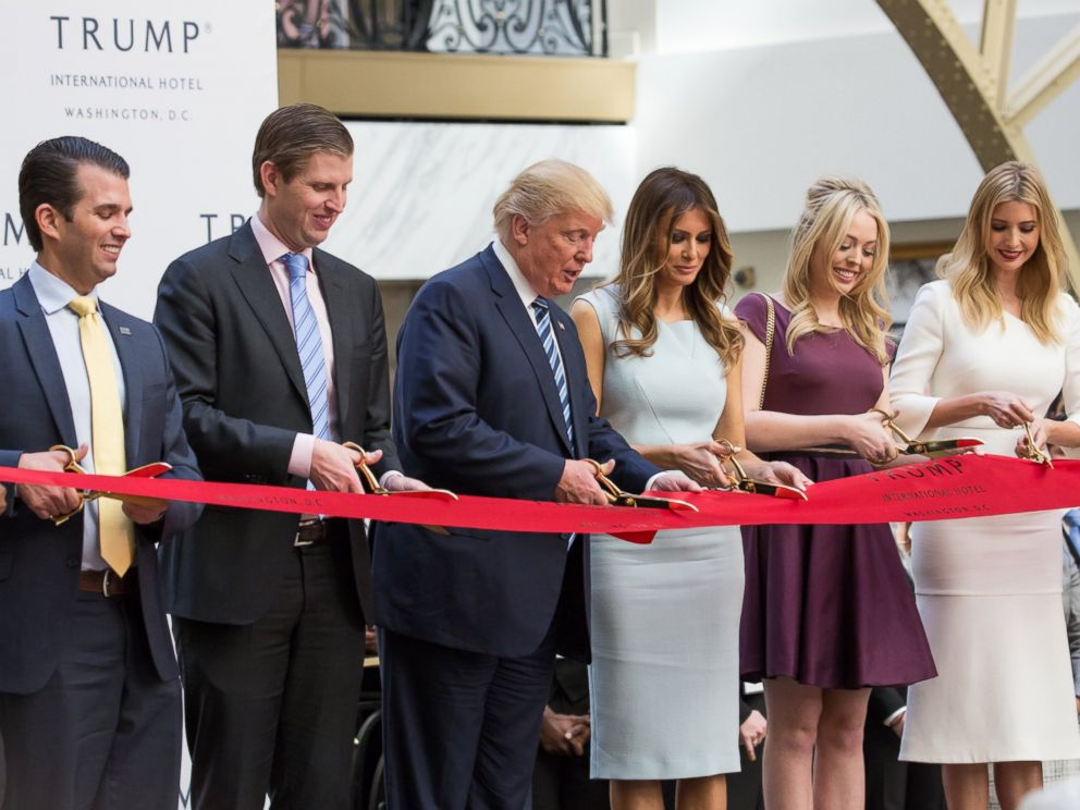 PHOTO: Donald Trump Jr., Eric Trump, Donald J. Trump, Melania Trump, Tiffany Trump, and Ivanka Trump, cut the ribbon for their latest property, Trump International Hotel - Old Post Office, in Washington, on Oct. 26, 2016.