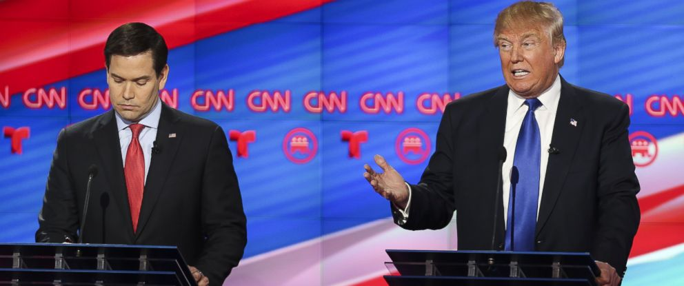 PHOTO: Donald Trump speaks as Sen. Marco Rubio looks on at the Republican presidential debate at the University of Houston, Feb. 25, 2016 in Houston.