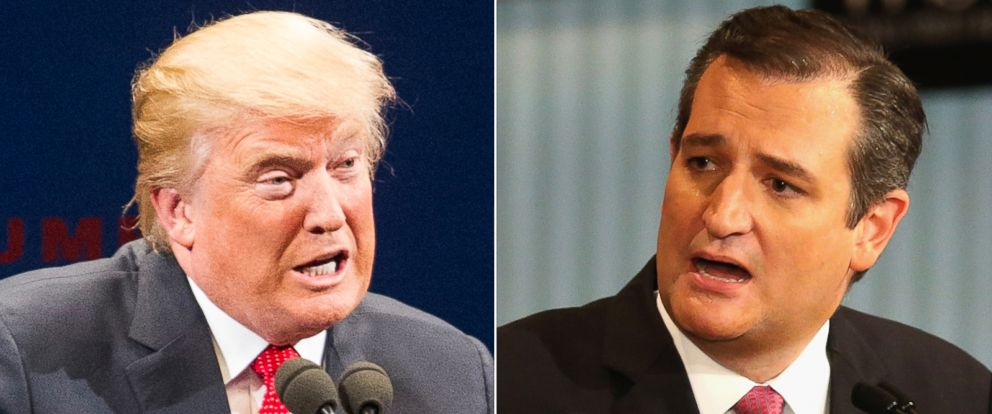 PHOTO: Pictured (L-R) are Republican presidential candidates Donald Trump in Burlington, Vt., Jan. 7, 2016 and Sen. Ted Cruz, R-TX, in Milwaukee, Nov. 10, 2015.