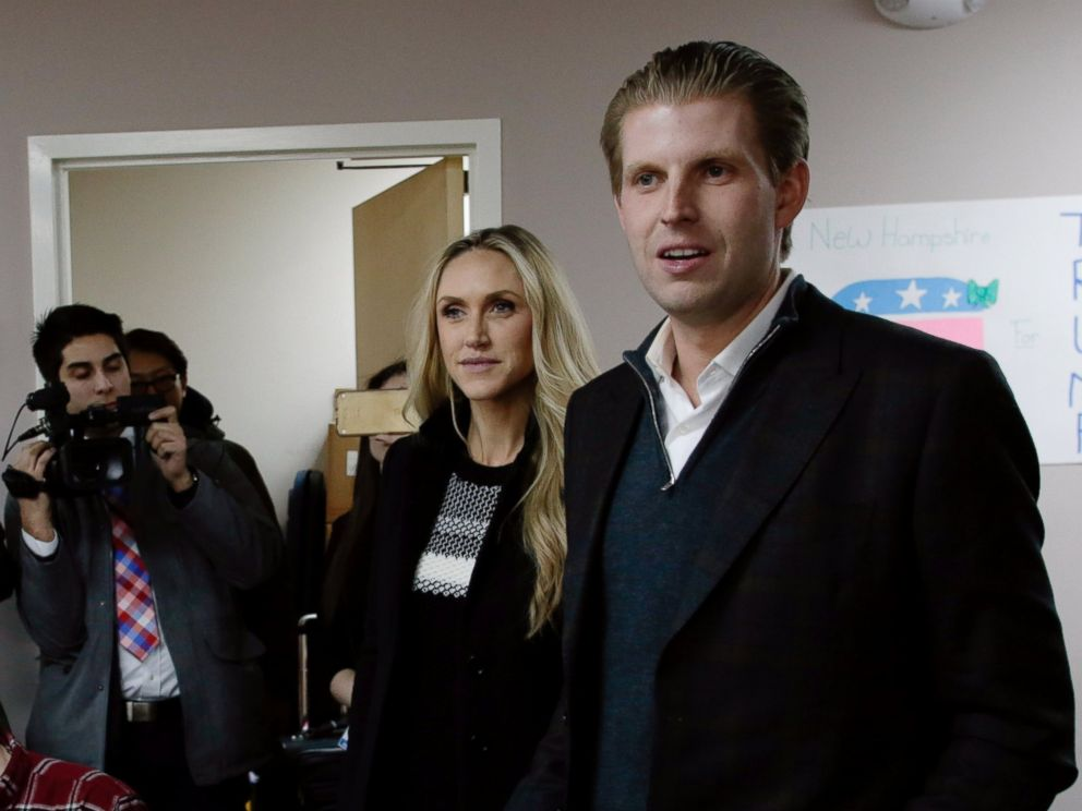 PHOTO:Eric Trump, right, son of Republican presidential candidate Donald Trump, along with wife Lara, thank volunteers as they make phone calls to New Hampshire voters at Trumps campaign office, Feb. 9, 2016 in Manchester, N.H.