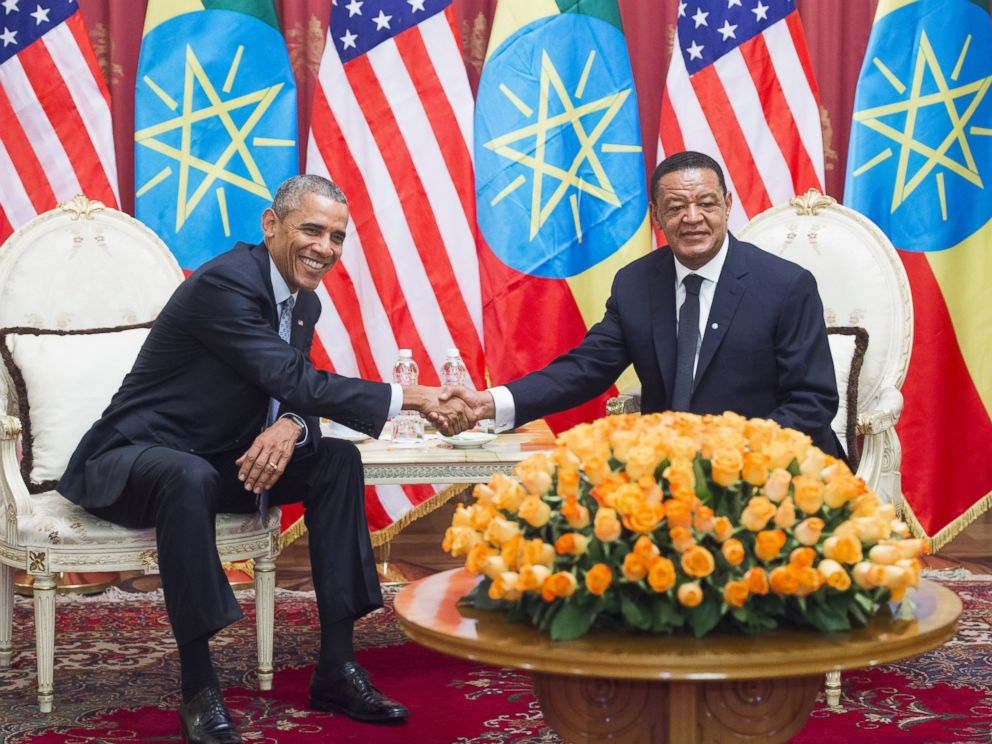 PHOTO: Ethiopian President Mulatu Teshome and President Barack Obama shake hands during a meeting at the National Palace, July 27, 2015 in Addis Ababa, Ethiopia.