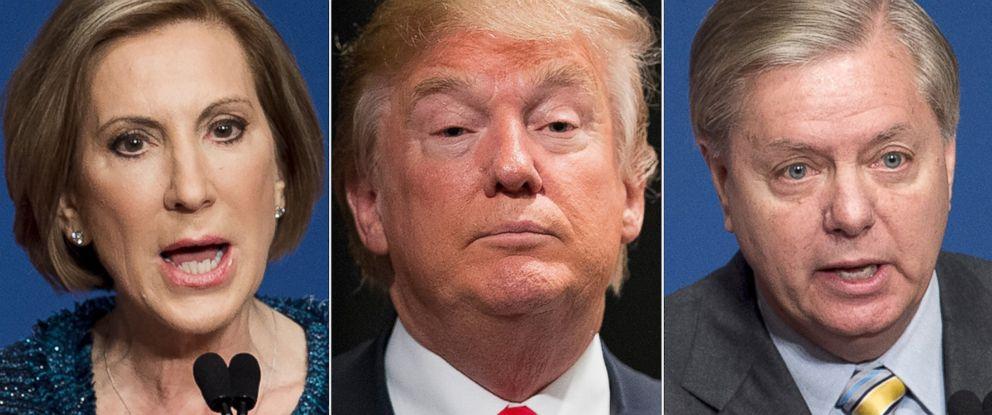 PHOTO: Carly Fiorina, Donald Trump and Lindsey Graham