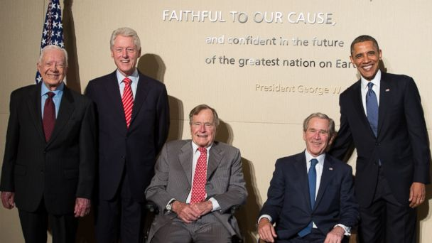 PHOTO: From left, Jimmy Carter, Bill Clinton, George H.W. Bush, George W. Bush, and Barack Obama pose at the opening of the George W. Bush Presidential Center on April 25, 2013 in Dallas, Texas.