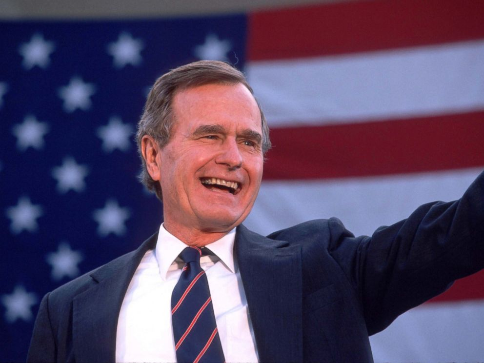 George Bush waves to a crowd of supporters, Nov. 5, 1988.