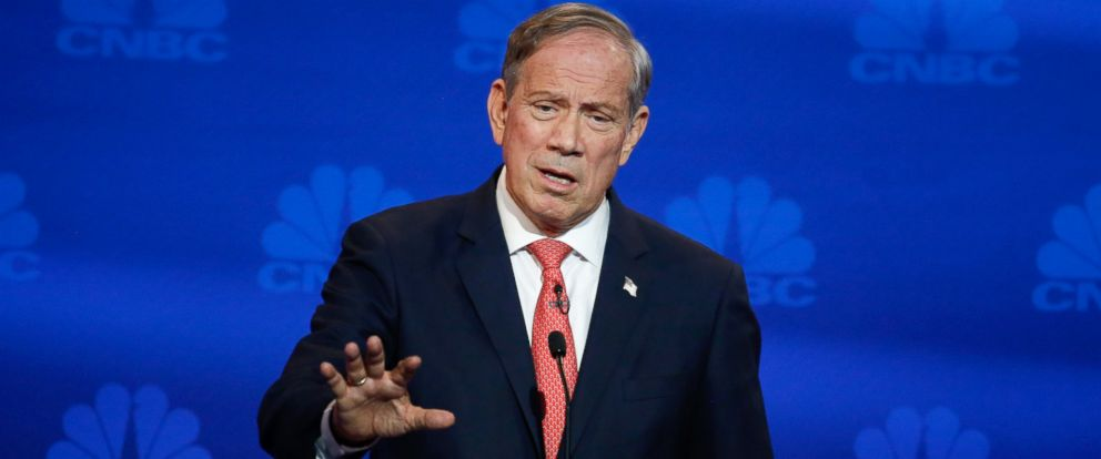 "PHOTO: George Pataki participates in CNBCs ""Your Money, Your Vote: The Republican Presidential Debate"" live from the University of Colorado Boulder in Boulder, Color., Oct. 28, 2015."