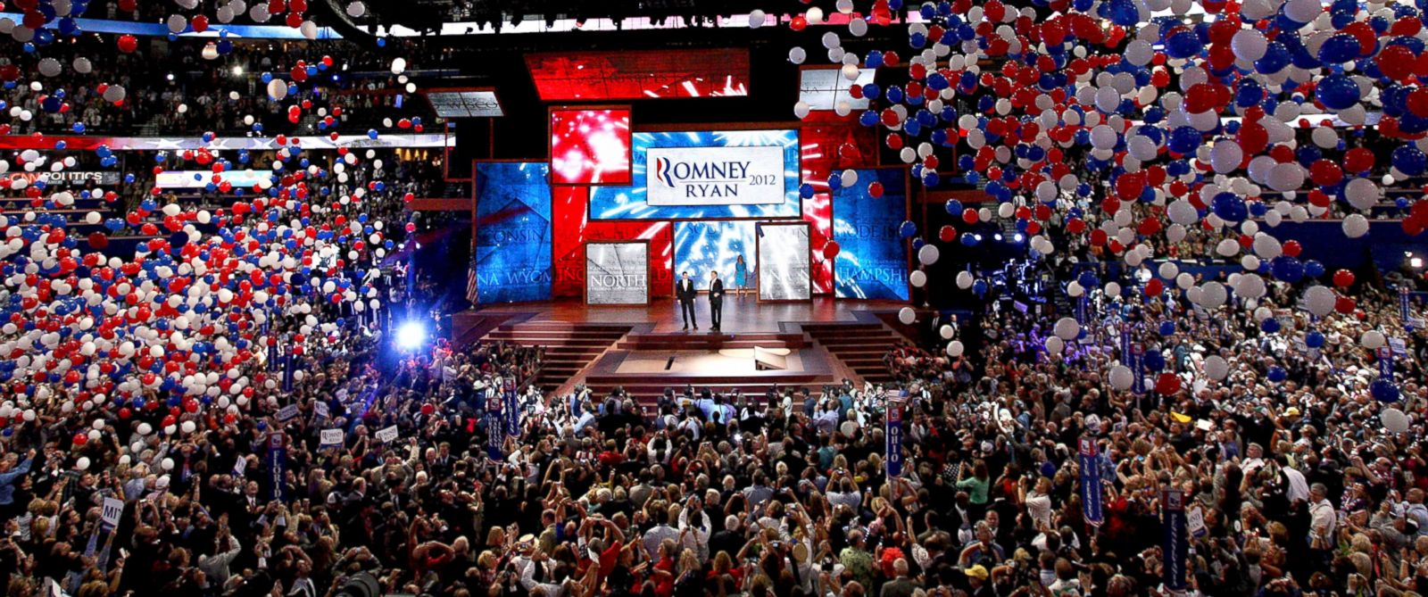 PHOTO: Balloons fall at the Republican National Convention (RNC) in Tampa, Flori, Aug. 30, 2012.