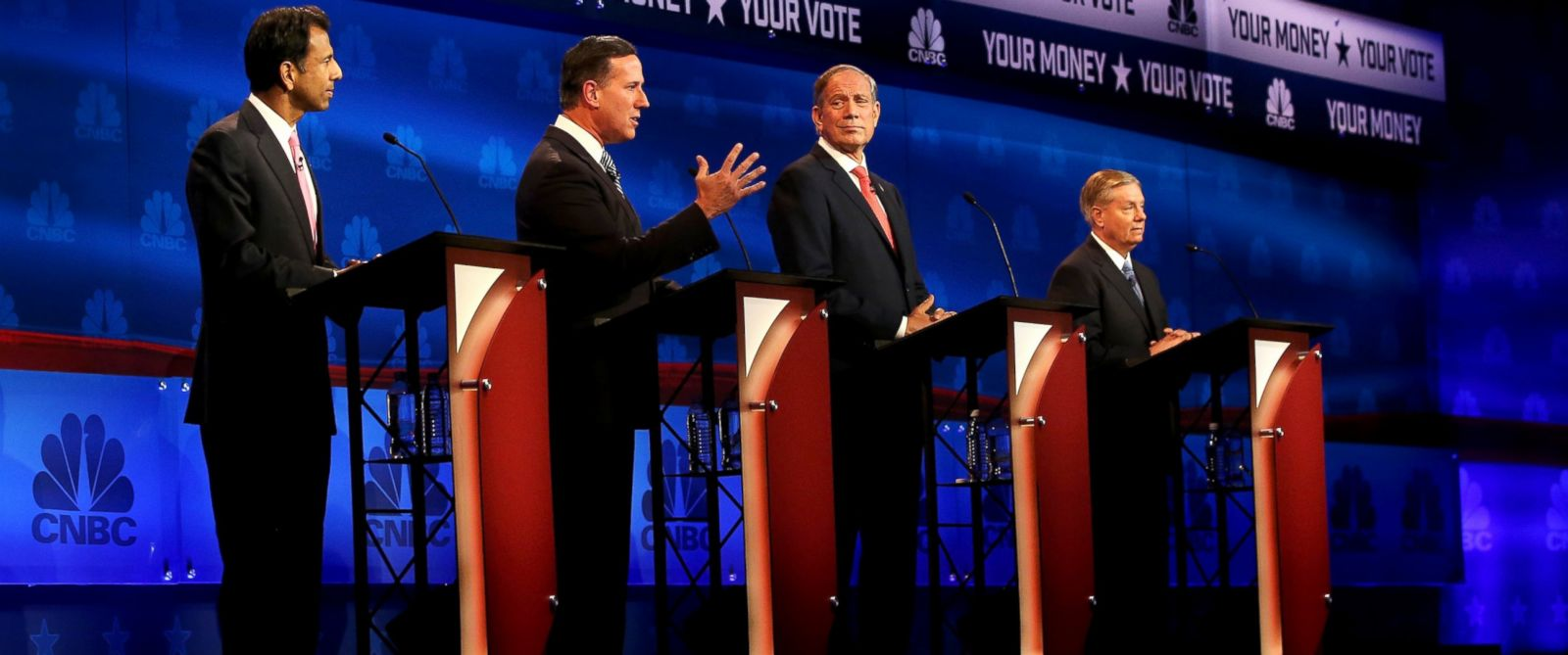 PHOTO: Louisiana Governor Bobby Jindal, Rick Santorum, George Pataki, and Sen. Lindsey Graham (R-SC) take part in the CNBC Republican Presidential Debate at University of Colorados Coors Events Center, Oct. 28, 2015, in Boulder, Colo.