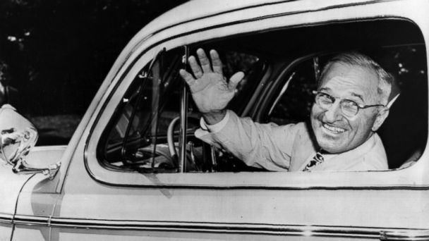 PHOTO: Harry S. Truman is pictured at the wheel of his 1945 de luxe two-door Ford sedan, a present from Henry Ford in August, 1945.