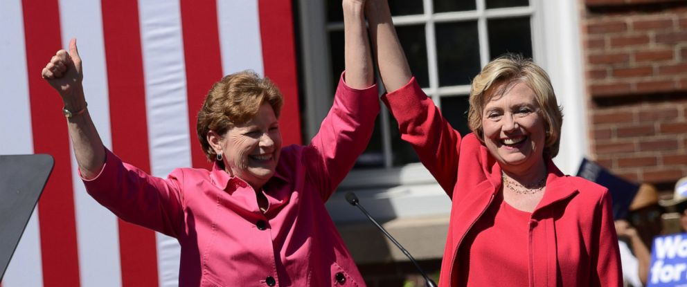 PHOTO: Democratic presidential candidate Hillary Clinton, right, receives an endorsement from U.S. Senator Jeanne Shaheen, D-NH, Sept. 5, 2015 in Portsmouth, N.H.