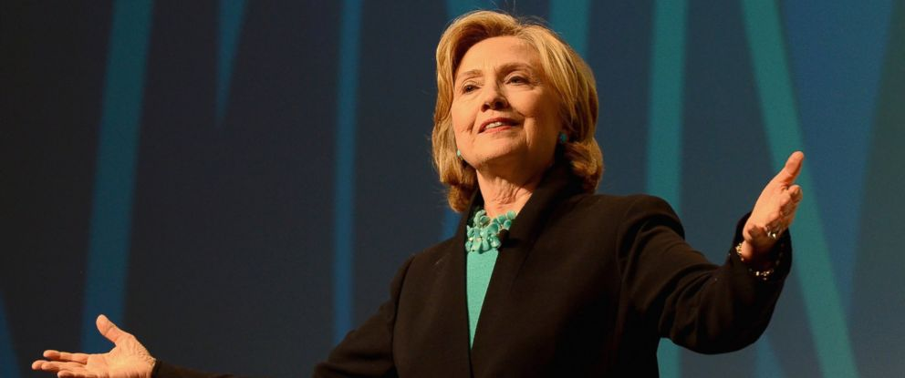 PHOTO: Former United States Secretary of State, Hillary Rodham Clinton speaks on stage at the 2014 Massachusetts Conference for Women at Boston Convention & Exhibition Center on Dec. 4, 2014 in Boston.