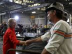 PHOTO: Democratic presidential nominee former Secretary of State Hillary Clinton greets steel workers during a campaign rally with democratic vice presidential nominee Sen Tim Kaine at Johnstown Wire Technologies, July 30, 2016 in Johnstown, Pennsylvania.