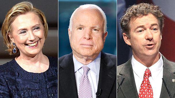 GTY hillary clinton mccain paul nt 130731 16x9 608 Hillary Clinton vs. Rand Paul a Tough Choice for Playful McCain