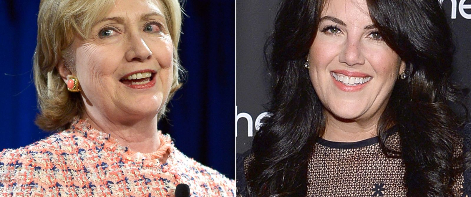 PHOTO: Hillary Clinton delivers the Keynote Address at the 35th Annual Simmons Leadership Conference at Simmons College, April 23, 2014, in Boston. | Monica Lewinsky attends the Kitchen Spring Gala Benefit 2014, May 22, 2014, in New York.