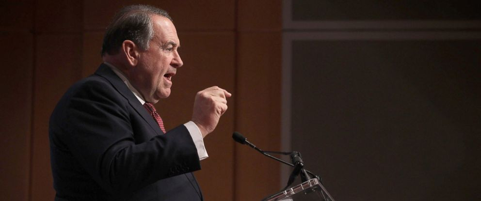 PHOTO: Republican presidential candidate and former Arkansas Gov. Mike Huckabee addresses the Republican Jewish Coalition at Ronald Reagan Building and International Trade Center Dec. 3, 2015 in Washington, DC.