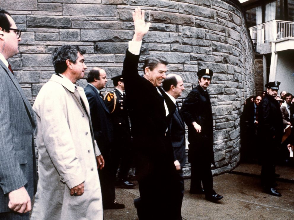 PHOTO:This photo taken by presidential photographer Mike Evens on March 30, 1981 shows President Ronald Reagan waving to the crowd just before the assassination attempt on him, after a conference outside the Hilton Hotel in Washington, D.C.